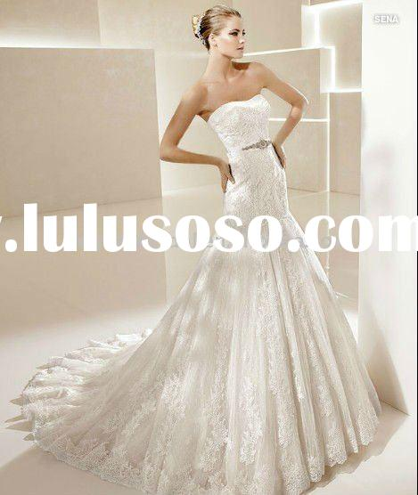 Strapless appliqued tulle corset mermaid Wedding dress 2011 crystal L7432