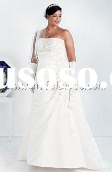 TMT1273 A-line side drape strapless gown with beaded lace detail on bodice and skirt plus size weddi