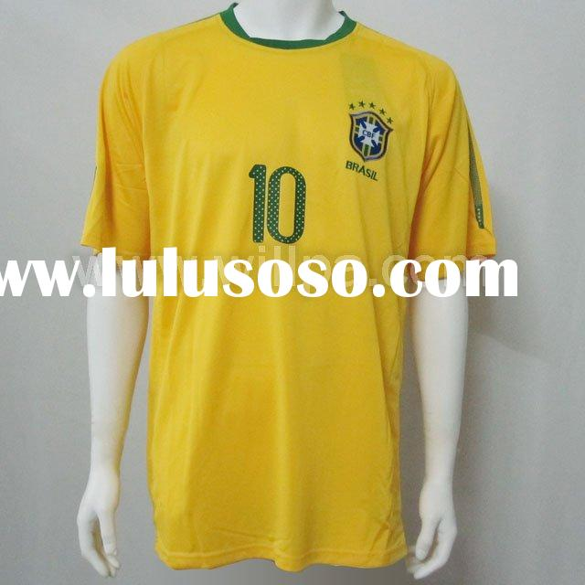 Thailand Quality National Team Brazil Home Yellow Soccer Jersey -- Trustful Supplier