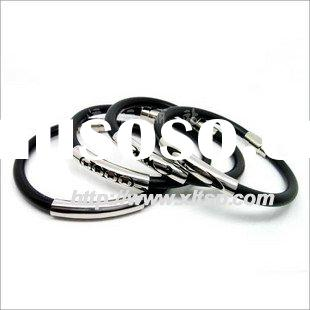 Titanium/stainless steel silicone rubber bracelets