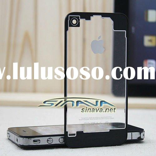Transparent tempered glass back cover for iPhone 4 or 4S,8 color