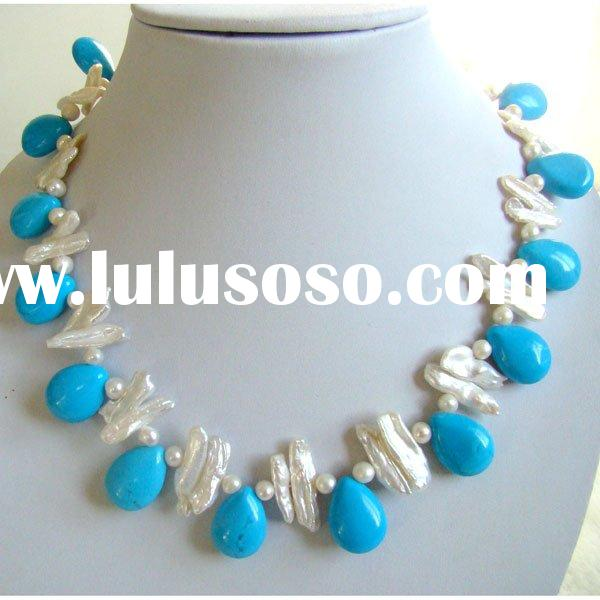 Turquoise gemstone necklace with freshwater pearls TQN0048