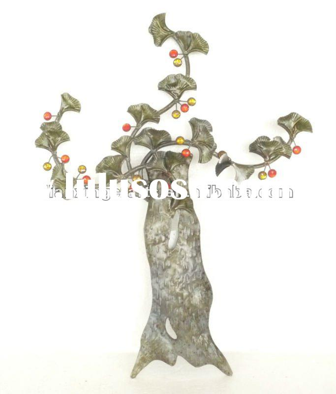 Unique Metal Ginkgo Tree Art For Wall Decoration