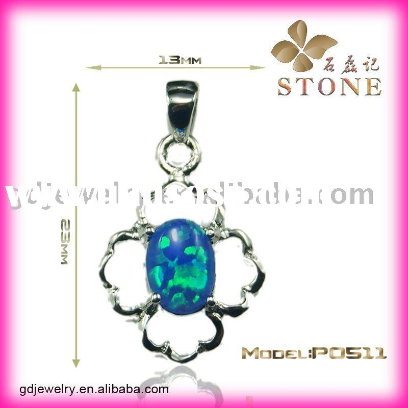 Unique Nature Blue Fire Opal Silver Jewelry Pendant