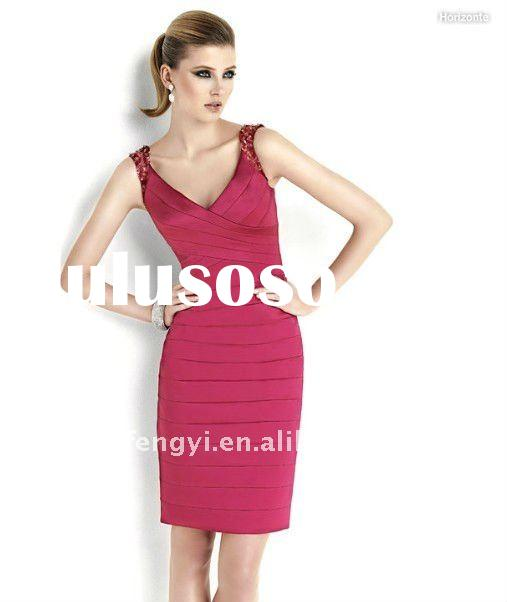 Vintage beaded strappy V-neck tiere sheath short red formal evening party dress 2011 designer