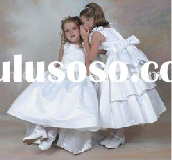 Voble snow white bow-tie flower girl dress kids gowns childern skirts for wedding and special occasi