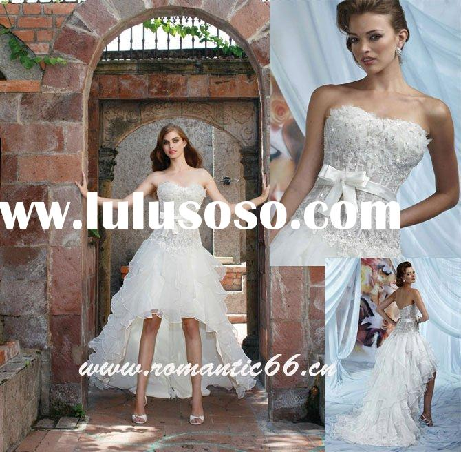 W1243 Hot Sale Strapless Sleeveless Short Front Long Back Wedding Dress 2011
