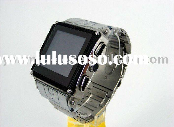 W818 quad band FM MP3/MP4 Stainless Steel Waterproof cell phone watch