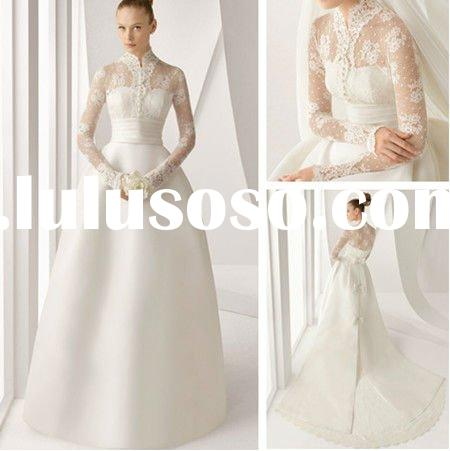 WD3201 Elegant High Neck Long Sleeve Lace Wedding Dress