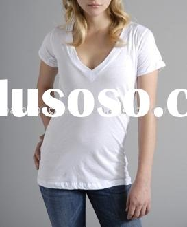 WOMEN'S ECO FASHION SHORT SLEEVE V-NECK T-SHIRT
