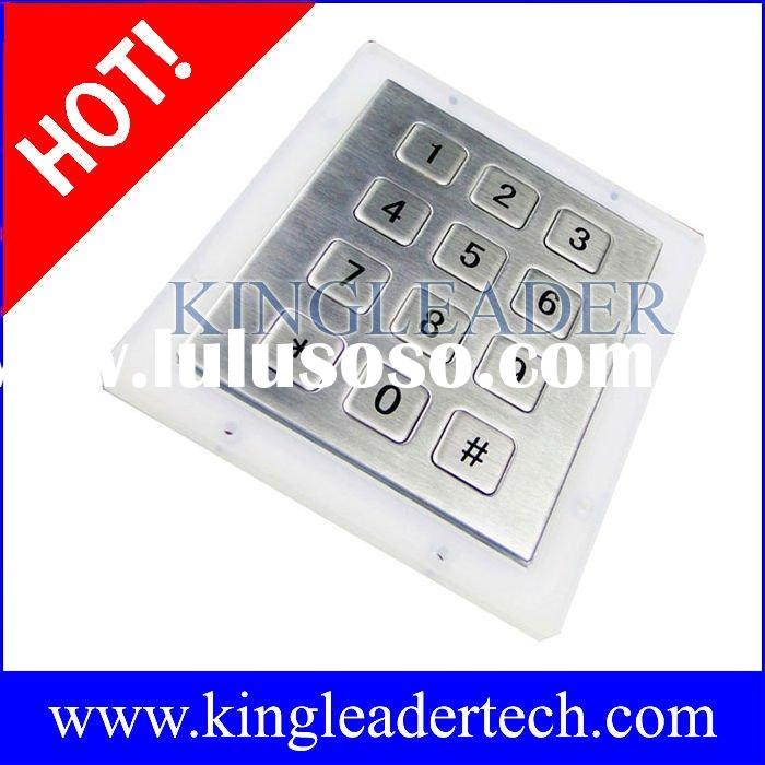 Waterproof,vandalproof metal numeric keypad with 12 shor-travel keys