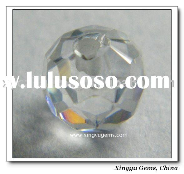 White Rondelle Cubic Zirconia with Half Hole