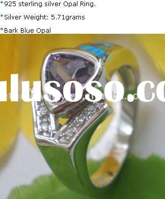 Wholesale 925 sterling silver lab blue opal silver ring(OPR019)