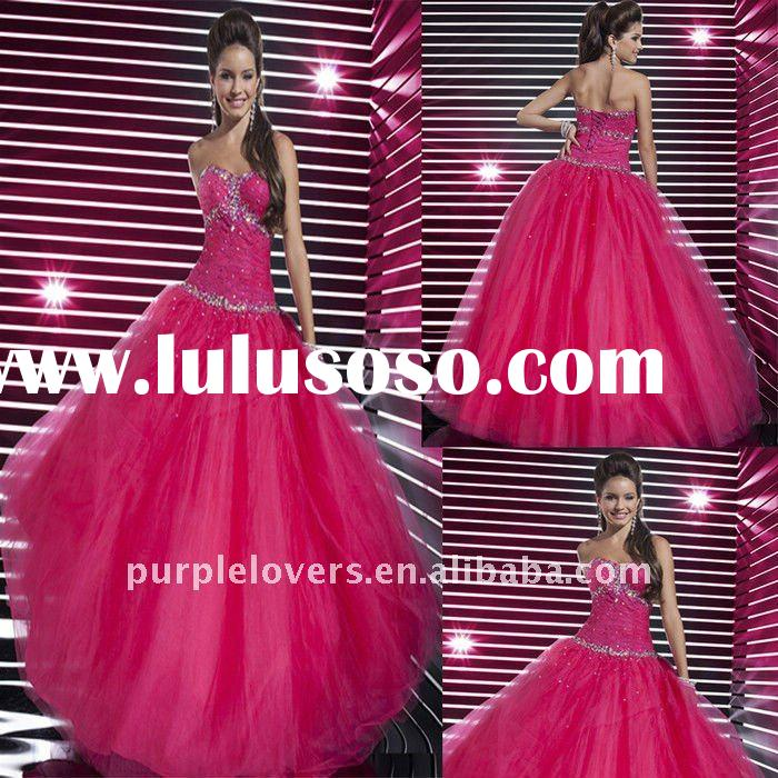 Whosale Red Strapless Sweatheart Beaded A-line prom dress