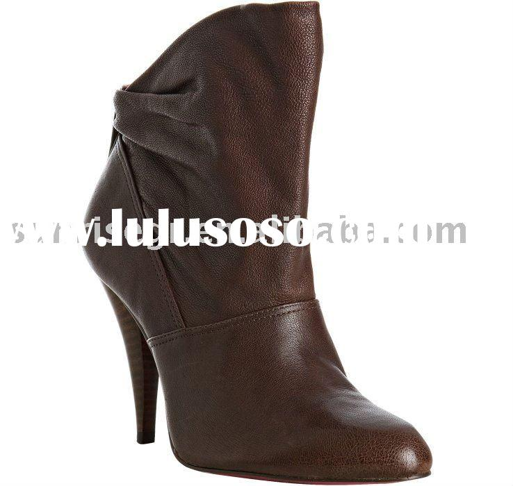 Woman high heel fashion leather ankle boots shoes