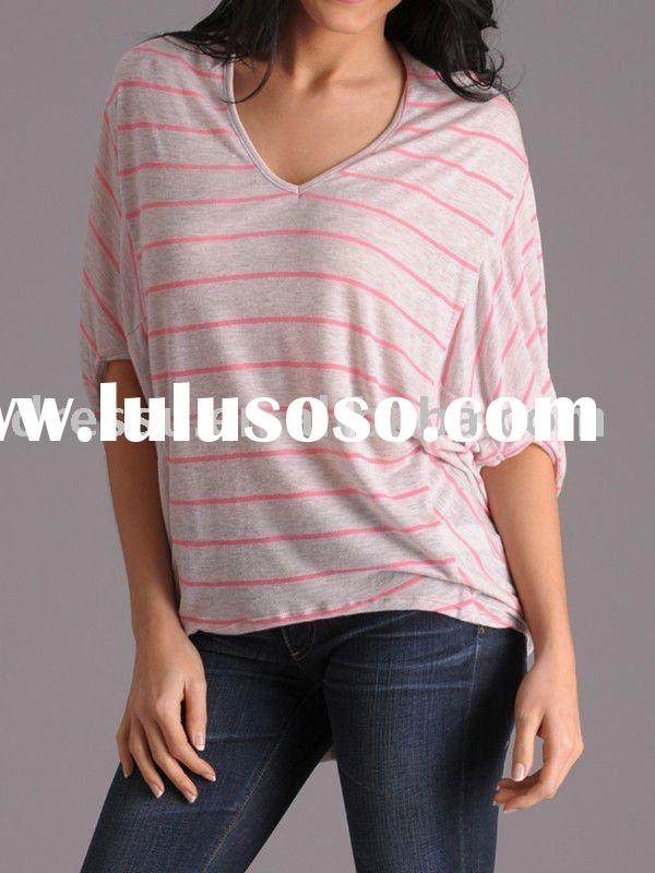 Women Plus size Stripe Fashion Clothing Tops
