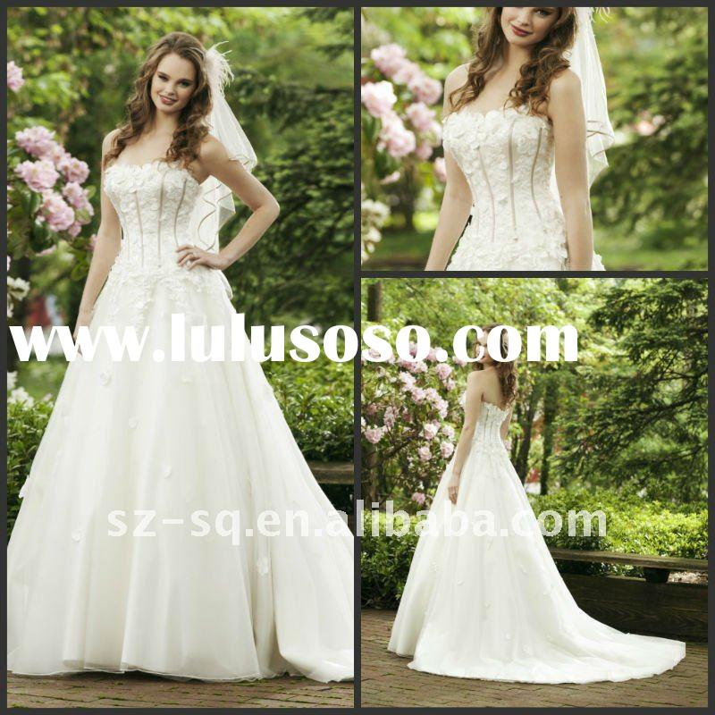 Y0989 Hot Elegant Strapless A-line White Wedding Dress 2012