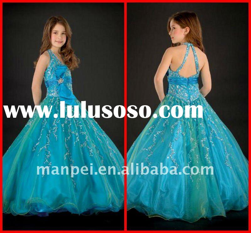 (H-27)2012New Fashion Custom Made Turquoise Applique Flare Little Ball Gown For Wedding Cinderella F