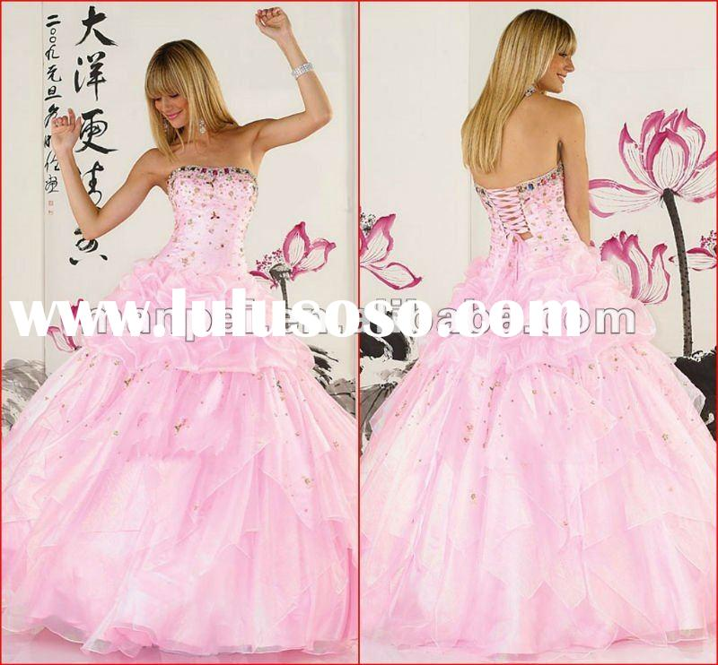 (MO-16)Custom Made Strapless Sequined Ruffle Pink Organza Puffy Ball Gown Prom Dresses