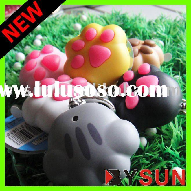 (Patented product) 2011 PROMO LED Cat Paw keychains flashlight with sound