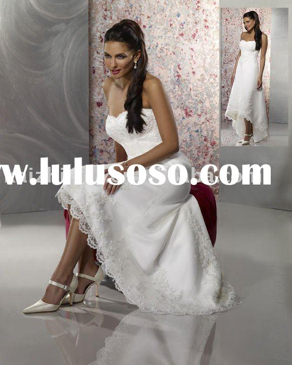 a-line casual strapless short summer beach wedding dress
