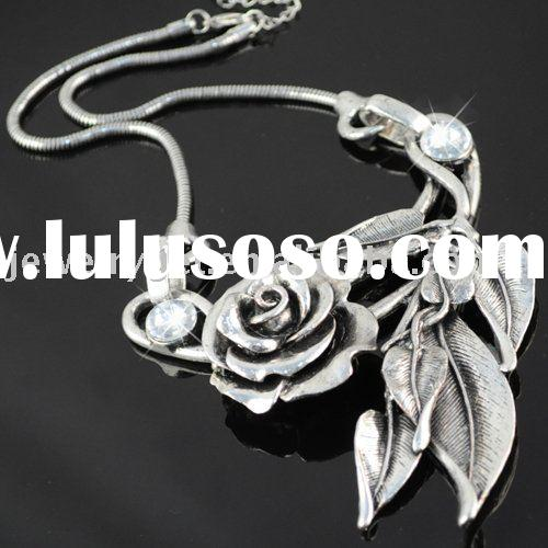 alloy necklaces ,rose shape ,snake chain ,paypal ,free shipping ,nl-990