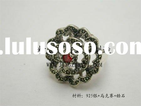 antique 925 sterling silver flower ring with zircon