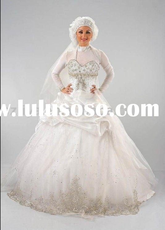 arabic long sleeves high neck rhinestones wedding gowns ball gowns SHS314
