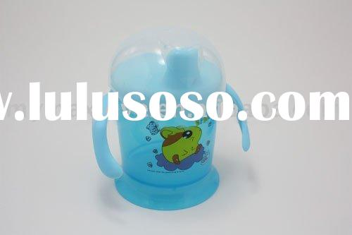 baby kids BPA-free plastic feeding sippy and training mug cup with duck mouth and two handles