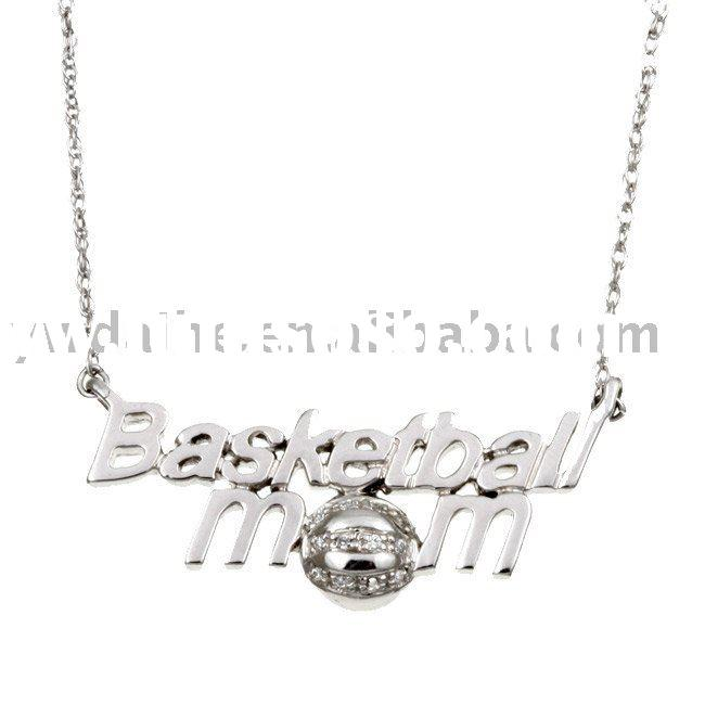 basketball mom fashion pendent necklace jewelry,rhodium plated alloy necklace with diamond setting