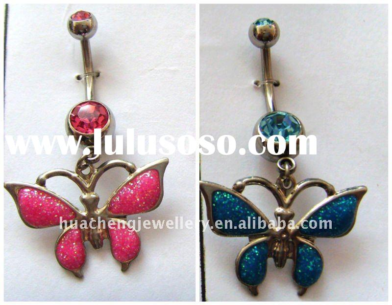 body jewelry belly ring with glitter butterfly