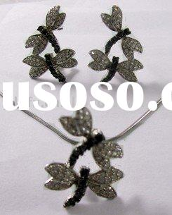 butterfly jewelry set ,wholesale fashion silver jewelry set, cz jewelry set