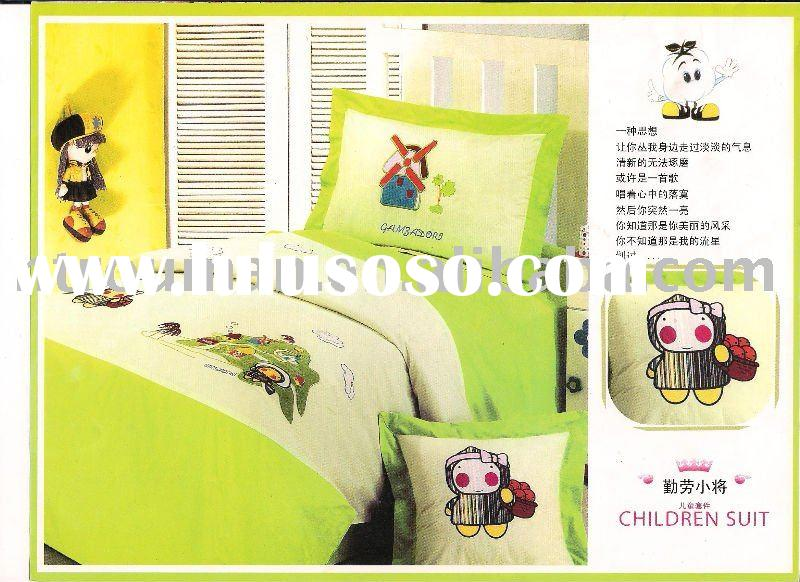 children embroidered cotton bedding sets, bed sheets