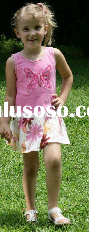 children summer dress/girl drop waist knit dress H460#