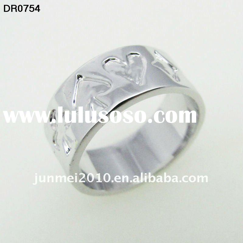concise design poker shape figure silver band ring