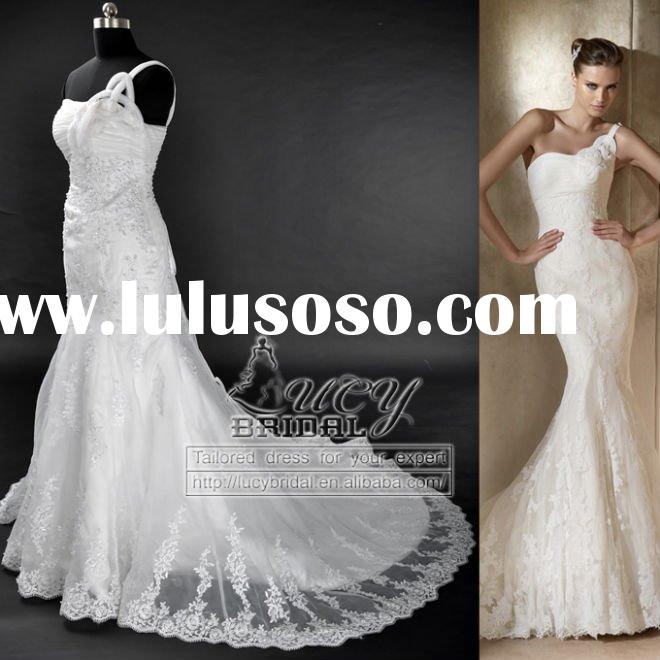 elegant satin organza lace beaded wedding dress DS0316