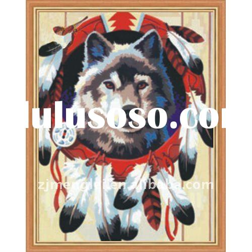 factory direct sale--high quality 30*40cm digital oil painting by numbers with CE--wolf totem