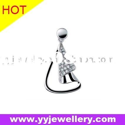 fashion 925 sterling silver pendant with micro setting cubic zircon (YVP00351)