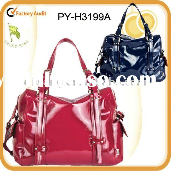 fashion high quality patent pvc tote baby changing bag