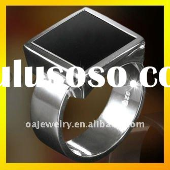 fashion men wedding silver rings with big black stone paypal acceptable