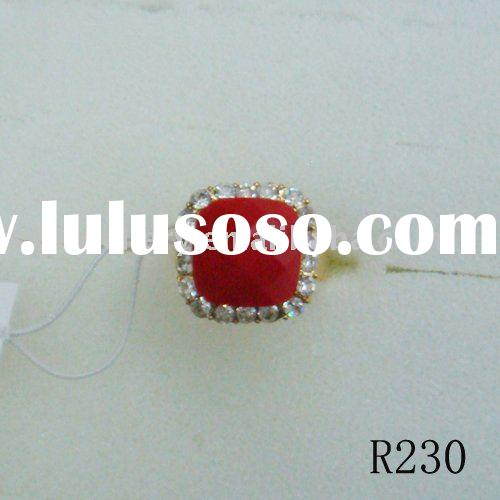 fashion red coral ring