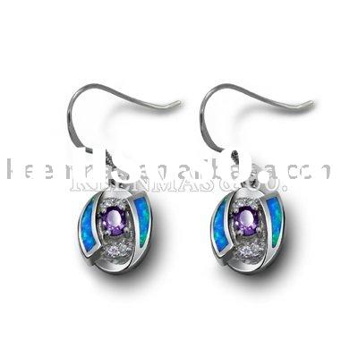 fashion silver earrings wiht opal and cz stone