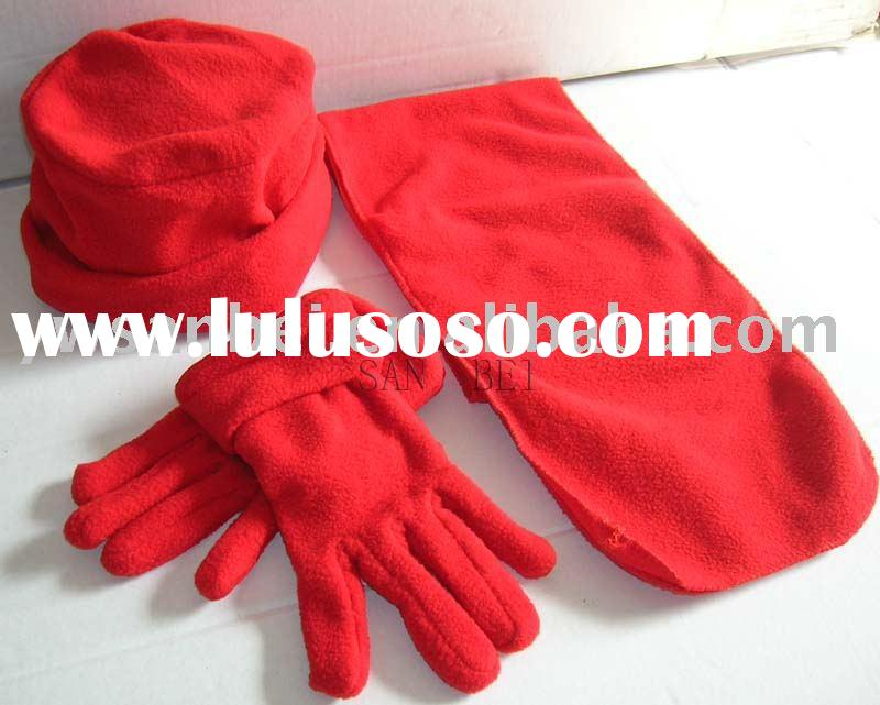 fleece hat glove scarf set