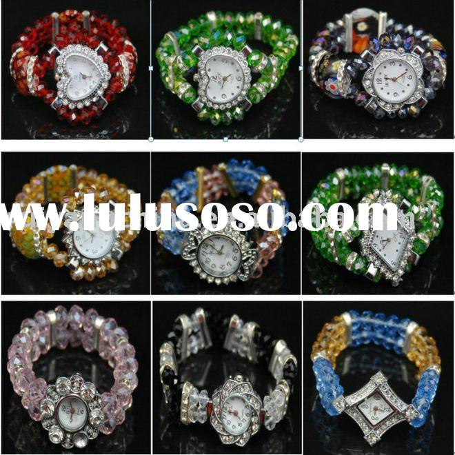free shipping wholesale fashion rhineston crystal beads bracelet stretch watch for women