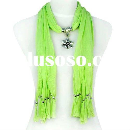 green fashion necklace scarf , alloy rose flower pendant jewellery scarves, beaded scarf jewellery ,