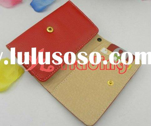 high quality wallet leather case for iphone4 with credit card slots