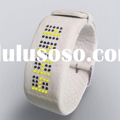 hot sale white leather led watch, 2011 fashion leather led watches