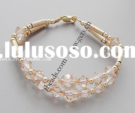 jewelry Crystal Bracelet,with 14K gold filled brass bead