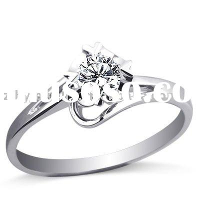 jewelry Cubic zirconia ring Rhodium plated for engagement