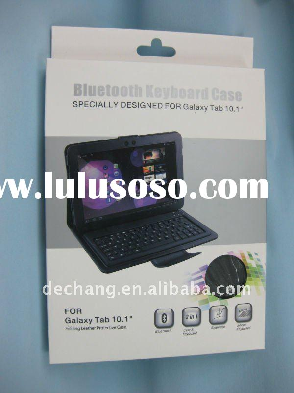 leather case with wireless bluetooth keyboard for samsung galaxy tab 10.1""